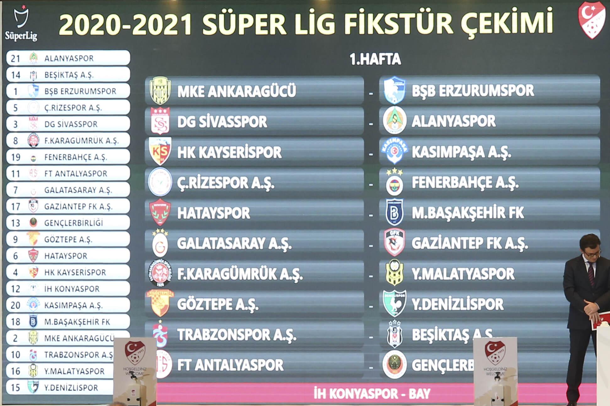 Süper Lig'de, 2020-2021 sezonunun fikstür çekimi yapıldı